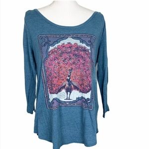 Lucky Brand Blue Peacock Graphic 3/4 Sleeve Top